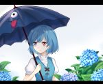 1girl arm_at_side arm_up blue_eyes blue_hair blue_vest blurry breasts clouds cloudy_sky commentary_request depth_of_field expressionless flower heterochromia high_collar highres holding holding_umbrella hydrangea karakasa_obake leaf letterboxed looking_to_the_side outdoors puffy_short_sleeves puffy_sleeves raki_(for03ge) red_eyes shirt short_hair short_sleeves sky small_breasts solo standing tatara_kogasa touhou umbrella upper_body vest water_drop white_shirt