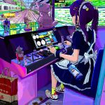1girl ace_akira arcade bag bangs card commentary crayon_shin-chan densha_de_go! doll earrings figure from_behind from_side full_body gundam instant_ramen jewelry long_hair maid maid_headdress makeup mew nail_polish_bottle nohara_shinnosuke original pixel_art playing_games pokemon purple_hair ring shoes shopping_bag sitting sneakers solo super_sonico tuxedo_sam twintails yuu-gi-ou