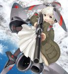 1girl :d aiming bangs blue_sky blush brown_legwear clouds coat day dress eyebrows_visible_through_hair fur-trimmed_coat fur-trimmed_sleeves fur_trim green_coat grey_eyes gun holding holding_gun holding_weapon mecha_musume military nanaroku_(fortress76) open_clothes open_coat open_mouth original outdoors pantyhose pleated_dress red_star round_teeth russian_text scope silver_hair sky smile snow snowing solo star teeth translation_request upper_teeth v-shaped_eyebrows weapon weapon_request white_dress