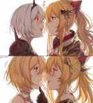 2girls alternate_costume alternate_eye_color bare_shoulders blonde_hair blush bow brown_eyes djeeta_(granblue_fantasy) empty_eyes gloves glowing glowing_eyes granblue_fantasy hair_bow hair_ornament hand_on_another's_chin heart highres looking_at_another multiple_girls open_mouth ponytail simple_background smile sweatdrop the_glory upper_body vira_lilie white_background yandere yellow_eyes yukari_(bryleluansing) yuri