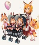 6+girls :3 afterimage animal_ear_fluff animal_ears balloon bell blonde_hair blue_eyes child commentary_request crossover doitsuken eyebrows_visible_through_hair fang fang_out flailing fox_ears fox_tail hair_bobbles hair_ornament japanese_clothes jingle_bell long_hair miko multiple_girls orange_hair petting ponytail senko_(sewayaki_kitsune_no_senko-san) sewayaki_kitsune_no_senko-san short_hair simple_background smile tail toddler twintails white_background yellow_eyes younger