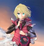 1boy blonde_hair blue_eyes dolling60883582 dollinger highres jacket looking_at_viewer male_focus monado short_hair shulk simple_background sky solo sword weapon xenoblade_(series) xenoblade_1