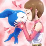 1girl blush breasts brown_hair chibimon commentary_request digimon digimon_adventure digimon_adventure_02 gloves hair_ornament highres kiss short_hair tori@gununu yagami_hikari