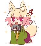 2girls animal_ear_fluff animal_ears bangs black_legwear black_skirt blonde_hair blush brown_footwear character_request chibi commentary_request eyebrows_visible_through_hair fox_ears fox_girl fox_tail green_shirt grey_hair hair_between_eyes hair_bun hair_ornament kemomimi-chan_(naga_u) long_sleeves looking_at_viewer minigirl mouse_ears mouse_girl mouse_tail mouth_hold multiple_girls naga_u no_shoes orange_neckwear original pantyhose pleated_skirt puffy_short_sleeves puffy_sleeves purple_skirt red_eyes shadow shirt short_sleeves skirt sleeves_past_fingers sleeves_past_wrists sparkle tail thick_eyebrows v-shaped_eyebrows white_background white_legwear