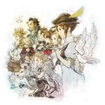 alfyn_(octopath_traveler) blonde_hair bracelet braid braided_ponytail brown_hair cloak cyrus_(octopath_traveler) dancer dress fringe_trim gloves h'aanit_(octopath_traveler) hat ikusy jewelry linde_(octopath_traveler) long_hair multiple_girls necklace octopath_traveler olberic_eisenberg ophilia_(octopath_traveler) ponytail primrose_azelhart short_hair simple_background smile snow_leopard therion_(octopath_traveler) tressa_(octopath_traveler)
