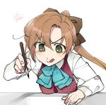 1girl akigumo_(kantai_collection) brown_hair dress_shirt green_eyes hair_ribbon halterneck kantai_collection long_hair long_sleeves nakagomiyuki415 pencil ponytail ribbon school_uniform shirt signature simple_background solo table tongue tongue_out upper_body white_background white_shirt
