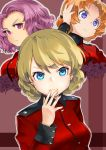 3girls alternate_eye_color bangs black_bow blonde_hair blue_eyes bow braid closed_mouth commentary cropped_torso darjeeling epaulettes eyebrows_visible_through_hair flower frown girls_und_panzer hair_bow hand_on_own_head hand_to_own_mouth highres jacket lily_(flower) long_sleeves looking_at_viewer military military_uniform monomono multiple_girls orange_hair orange_pekoe parted_bangs purple_hair red_jacket rose rosehip short_hair smile st._gloriana's_military_uniform tied_hair twin_braids uniform violet_eyes