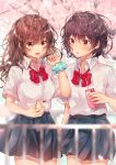 2girls :d absurdres bangs black_skirt blurry blurry_background blurry_foreground blush bow brown_eyes brown_hair cellphone cherry_blossoms collared_shirt commentary_request depth_of_field dress_shirt drinking_straw eyebrows_visible_through_hair flower green_scrunchie gyozanuko hair_between_eyes highres holding holding_cellphone holding_phone long_hair messy mole mole_on_neck mole_under_mouth multiple_girls open_mouth original parted_lips phone pink_flower pleated_skirt polka_dot polka_dot_scrunchie railing red_bow school_uniform scrunchie shirt short_sleeves skirt smile unmoving_pattern wrist_scrunchie
