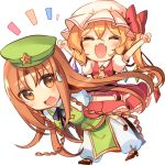 2girls :d ^_^ alternate_eye_color arms_up ascot black_neckwear blonde_hair blush bow braid breasts brown_hair carrying chibi china_dress chinese_clothes closed_eyes crystal dress eyebrows_visible_through_hair eyes_visible_through_hair fangs flandre_scarlet full_body green_dress happy hat hat_bow hong_meiling kirero leaning_forward long_hair looking_back mob_cap multiple_girls no_nose open_mouth pants pants_under_dress piggyback puffy_pants puffy_short_sleeves puffy_sleeves redhead shirt shoes short_hair short_sleeves side_ponytail simple_background skirt skirt_set smile sweatdrop touhou twin_braids very_long_hair white_background white_shirt wings wrist_cuffs yellow_neckwear