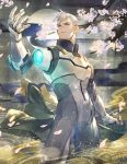 1boy bomssp cherry_blossoms detached_arm full_moon highres holding holding_jacket jacket jacket_removed male_focus moon pilot_suit prosthesis prosthetic_arm scar silver_hair solo takashi_shirogane voltron:_legendary_defender white_hair