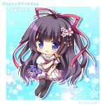1girl :d bangs black_footwear black_hair black_legwear blue_background blue_eyes blush bow character_name cherry_blossoms chibi commentary_request eyebrows_visible_through_hair flower full_body hair_flower hair_ornament hair_ribbon happy_birthday high_ponytail holding holding_sheath katana long_hair looking_at_viewer open_mouth pantyhose pink_flower pleated_skirt ponytail puffy_short_sleeves puffy_sleeves purple_bow red_ribbon ribbon ryuuka_sane sailor_collar school_uniform serafuku sheath sheathed shirt shoes short_sleeves skirt smile solo star starry_background sword twitter_username two-tone_background unmei_senjou_no_phi very_long_hair weapon white_background white_sailor_collar white_serafuku white_shirt white_skirt yaegasumi_shino