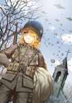 1girl aircraft airplane blonde_hair commentary dutch_angle freckles green_eyes gun hair_over_one_eye hands_on_hips kws m1_helmet medium_hair military military_uniform original outdoors parachute revision rifle rifle_on_back ruins soldier solo_focus uniform us_army weapon world_war_ii