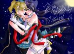 2girls arm_around_shoulder arm_around_waist ayase_eli bare_shoulders blonde_hair blue_eyes blush crossdressing dated e_len elbow_gloves full_moon gloves happy_birthday high_heels high_ponytail leg_up long_hair looking_at_another love_live! love_live!_school_idol_project low_twintails moon multiple_girls necktie ponytail purple_hair signature smile tiara toujou_nozomi twintails wedding yuri