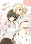 2girls apron asagao_to_kase-san bangs blonde_hair blunt_bangs blush brown_eyes brown_hair cake carrying dress_shirt eyes_visible_through_hair floral_background flower food food_on_face hair_over_one_eye hand_on_another's_hip happy_birthday holding holding_cake holding_food kase_tomoka maid_headdress multiple_girls official_art shirt short_hair speech_bubble strawberry_shortcake takashima_hiromi teeth translated very_short_hair yamada_yui yellow_eyes