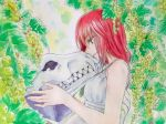 1girl animal_skull bare_shoulders breasts commentary_request day dress ellias_ainsworth food fruit gorouziro grapes green_eyes hatori_chise highres holding_skull mahou_tsukai_no_yome outdoors profile redhead short_hair sidelocks smile solo traditional_media upper_body watercolor_(medium) white_dress