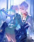 1boy 1girl absurdres albedo_piazzolla blue_hair bomssp cape cheek_kiss gloves hetero highres holdign_hair kirschwasser kiss long_hair side_ponytail silver_hair xenosaga yellow_eyes