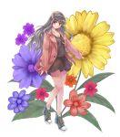 1girl bag coat flower hairband idolmaster jewelry long_hair minasato_hibiki necklace pendant shijou_takane shoes silver_hair skirt smile solo