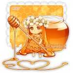 1girl artist_name bangs bare_arms barefoot chibi closed_mouth commentary dav-19 dress flower food_themed_clothes forehead hair_flower hair_ornament holding honey jar lace_background long_hair looking_at_viewer orange_dress orange_flower orange_hair original parted_bangs personification smile solo transparent_background very_long_hair watermark web_address white_flower