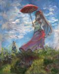 2girls arise_(allicenogalca) bangs blonde_hair blush breasts brown_hair clouds dated day detached_sleeves fine_art_parody flower grass hair_flower hair_ornament headgear highres holding iowa_(kantai_collection) kantai_collection long_hair multiple_girls outdoors parasol parody ponytail signature skirt sky standing umbrella woman_with_a_parasol yamato_(kantai_collection)