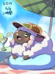 beach_umbrella bean_bag blush brown_eyes clouds commentary_request cup drink drinking_glass flower gen_8_pokemon hat hat_flower lying ni_jikan no_humans on_stomach open_mouth outdoors pokemon pokemon_(creature) pokemon_(game) pokemon_swsh sheep sky smile sun_hat sunflower umbrella wooloo