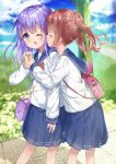 2girls backpack bag bangs blue_sailor_collar blue_skirt blue_sky blurry blurry_background bow bowtie brown_hair chestnut_mouth closed_eyes clouds cloudy_sky day depth_of_field eyebrows_visible_through_hair hair_between_eyes hair_ribbon highres long_hair long_sleeves multiple_girls one_eye_closed open_mouth original outdoors pleated_skirt purple_hair red_neckwear ribbon sailor_collar shiraki_shiori shirt shoulder_bag skirt sky tongue tongue_out twintails violet_eyes white_ribbon white_shirt wrist_grab yuri