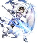 1girl armored_boots bangs black_eyes black_hair boots degel dual_wielding fire_emblem fire_emblem:_kakusei fire_emblem_heroes full_body gauntlets highres holding holding_weapon official_art parted_lips polearm shield shiny shiny_hair short_hair solo spear teeth transparent_background weapon