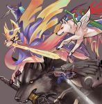amaterasu animal blue_eyes blue_fur bodypaint commentary crossover dark_souls dog english_commentary fire gen_8_pokemon great_grey_wolf_sif holding holding_sword holding_weapon link link_(wolf) magatama mouth_hold no_humans ookami_(game) pokemon pokemon_(creature) pokemon_(game) pokemon_swsh repede rosary scar shield simple_background smile souls_(from_software) sword sword_in_mouth syn_(kuponutt) tail tales_of_(series) tales_of_vesperia the_legend_of_zelda the_legend_of_zelda:_twilight_princess weapon wolf yellow_eyes zacian