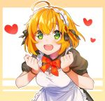 1girl :d ahoge alternate_costume apron black_dress bow bowtie breasts clenched_hands commentary dress enmaided flower frilled_apron frills green_eyes hair_flower hair_ornament hair_ribbon hairclip hands_up heart highres honma_himawari maid maid_headdress medium_breasts medium_hair nana_(nana_yume87) nijisanji open_mouth orange_hair puffy_sleeves red_bow ribbon short_sleeves smile solo sunflower upper_body upper_teeth wristband