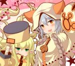 2girls animal_ears animal_hood blazblue blonde_hair blush brown_eyes cat_ears cat_hood company_connection cosplay erune fingerless_gloves gloves granblue_fantasy green_eyes grey_hair guilty_gear guilty_gear_xrd harvin hat heart hood matsunami_rumi melissabelle millia_rage millia_rage_(cosplay) multiple_girls pointy_ears power_connection sen_(granblue_fantasy) star taokaka taokaka_(cosplay) weapon_connection
