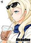 blonde_hair blue_eyes blue_scarf breasts character_name commentary_request cup drinking_straw eyewear_on_head hair_between_eyes kantai_collection long_hair mole mole_under_eye profile richelieu_(kantai_collection) scarf shirt signature sunglasses tsukino_murakumo upper_body white_background white_shirt