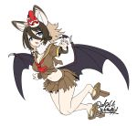 1girl :o animal_ears ascot bangs bat_ears bat_wings blue_eyes brown_serafuku brown_skirt dated extra_ears eyebrows_visible_through_hair fang full_body fur_collar geta hair_between_eyes hilgendorf's_tube-nose_bat_(kemono_friends) kemono_friends light_brown_hair looking_at_viewer mask mask_on_head midriff red_neckwear short_sleeves signature simple_background skirt solo tengu-geta tengu_mask white_background wings yoshida_hideyuki