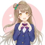 1girl :d bangs blazer blue_jacket blush bow brown_eyes brown_hair collared_shirt diagonal_stripes dress_shirt eyebrows_visible_through_hair green_bow hair_bow hands_up heart heart_hands jacket long_hair long_sleeves love_live! love_live!_school_idol_project minami_kotori one_side_up open_mouth pink_background red_bow rio_(9251843) round_teeth school_uniform shirt smile solo striped striped_bow teeth two-tone_background upper_body upper_teeth very_long_hair white_background white_shirt
