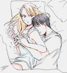 1boy 1girl anger_vein annoyed armpit_peek bed bed_sheet black_hair blonde_hair breast_grab brown_eyes couple drooling eyebrows_visible_through_hair fullmetal_alchemist grabbing hetero highres hug hug_from_behind long_hair looking_at_another looking_back lying on_bed on_side open_mouth ozaki_(tsukiko3) pillow riza_hawkeye roy_mustang shirt short_sleeves sleeping sleeveless sleeveless_shirt trembling white_shirt