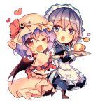 2girls :o ;d animal_print apron ascot bat_print bat_wings black_legwear blue_dress blue_eyes blue_hair blue_neckwear blush bow cake capelet checkerboard_cookie chibi cookie cup dress eyebrows_visible_through_hair eyes_visible_through_hair fangs food frilled_capelet frilled_dress frilled_shirt frilled_skirt frills full_body hair_between_eyes hat hat_bow hat_ornament heart izayoi_sakuya juliet_sleeves kirero long_sleeves looking_at_another looking_at_viewer maid maid_headdress mob_cap multiple_girls no_nose one_eye_closed open_mouth outstretched_arm plaid puffy_sleeves red_eyes red_neckwear remilia_scarlet saucer shirt shoes silver_hair simple_background skirt skirt_set smile teacup touhou tray unmoving_pattern waist_apron white_background wings wrist_cuffs