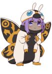 1girl :3 bangs blush closed_mouth cosplay_request costume dark_skin eyebrows_visible_through_hair fate/prototype fate/prototype:_fragments_of_blue_and_silver fate_(series) full_body hair_between_eyes hassan_of_serenity_(fate) i.u.y insect_wings long_sleeves looking_at_viewer moth_wings purple_hair simple_background sleeves_past_wrists solo standing violet_eyes white_background wings