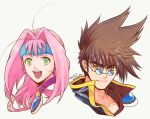 1boy 1girl 2017 :d ahoge blue-tinted_eyewear brown_hair closed_mouth collarbone dated glasses green_eyes hair_intakes kutsuno long_hair looking_at_viewer macross macross_7 mylene_jenius nekki_basara open_mouth pink_hair ponytail portrait round_eyewear simple_background smile spiky_hair sunglasses white_background yellow_eyes