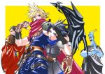 4boys asymmetrical_clothes auron belt black_gloves black_hair blonde_hair blue_eyes blue_fire border brown_gloves cloak cloud_strife disney fiery_hair final_fantasy final_fantasy_vii final_fantasy_x fingerless_gloves fire gauntlets gloves hades_(disney) hercules_(disney) kingdom_hearts kingdom_hearts_birth_by_sleep kingdom_hearts_i kingdom_hearts_ii ko102k1 looking_back multiple_boys open_mouth single_wing spiky_hair square_enix upper_body white_border wings yellow_background yellow_eyes zack_fair