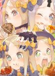 1girl abigail_williams_(fate/grand_order) bandaid_on_forehead blonde_hair blue_eyes bow doughnut eating fate/grand_order fate_(series) flower-shaped_pupils food food_on_face hair_bow hamburger heart heart-shaped_pupils highres keyhole mithurugi-sugar shoes sleeves_past_fingers sleeves_past_wrists sneakers star star-shaped_pupils symbol-shaped_pupils twitter_username