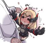 1boy 1girl azur_lane bangs black_footwear black_gloves black_jacket black_skirt blonde_hair blush boots breasts chibi collared_shirt commander_(azur_lane) commentary_request cropped_jacket eyebrows_visible_through_hair gloves grey_eyes grey_shirt hair_between_eyes headgear heart heart-shaped_pupils jacket long_hair long_sleeves medium_breasts multicolored_hair open_clothes open_jacket out_of_frame outstretched_arms pleated_skirt redhead roon_(azur_lane) shadow shirt skirt solo_focus standing streaked_hair sweatdrop symbol-shaped_pupils translated u-non_(annon'an) white_jacket