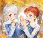 2boys albedo_piazzolla autumn blue_eyes bomssp child drooling eating food_in_mouth jr. leaf multiple_boys redhead star star-shaped_pupils symbol-shaped_pupils violet_eyes white_hair xenosaga younger