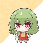 1girl ascot bangs blush chibi closed_mouth eyebrows_visible_through_hair floral_background frilled_skirt frills full_body green_hair hair_between_eyes holding holding_umbrella kazami_yuuka long_sleeves no_nose orange_background orange_neckwear plaid plaid_skirt plaid_vest red_eyes red_footwear red_skirt red_vest risemaru_(rise2032) shiny shiny_hair shirt shoes short_hair skirt smile socks standing touhou two-tone_background umbrella vest white_background white_frills white_legwear white_shirt white_umbrella
