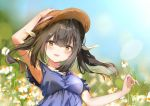 1girl :d arm_up bangs blue_dress blue_sky blurry blurry_background blush breasts brown_eyes brown_hair brown_headwear commentary_request day depth_of_field dress eyebrows_visible_through_hair fate/kaleid_liner_prisma_illya fate_(series) flower hair_between_eyes hair_ornament hair_ribbon hand_on_headwear hat looking_at_viewer miyu_edelfelt open_mouth outdoors pon_(ponidrop) ribbon sidelocks sky sleeveless sleeveless_dress small_breasts smile solo sun_hat twintails upper_body white_flower white_ribbon x_hair_ornament