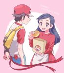 1boy 1girl apron arm_behind_back backpack bag baseball_cap black_hair brown_hair chrysanthemum creatures_(company) denim dress flower game_freak hat highres jeans kanto_mother_(rgby/frlg) malasada mother's_day mother_and_son nintendo pants paper_bag pink_background pokemon pokemon_(game) pokemon_frlg pokemon_sm pumpkinpan raglan_sleeves red_(pokemon) red_dress simple_background smile waist_apron