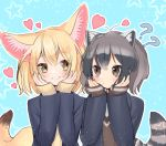 2girls ?? alternate_costume animal_ear_fluff animal_ears blazer blonde_hair blush commentary_request common_raccoon_(kemono_friends) eyebrows_visible_through_hair fennec_(kemono_friends) fox_ears fox_tail grey_hair hands_on_own_cheeks hands_on_own_face heart ichi001 jacket kemono_friends long_sleeves looking_at_another matching_outfit multicolored_hair multiple_girls raccoon_ears raccoon_tail school_uniform short_hair sleeves_past_wrists smile sparkle tail upper_body