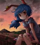 1girl animal_ears blue_dress brick_wall clouds cloudy_sky commentary_request dress ear_clip eyebrows_visible_through_hair feet_out_of_frame grass hair_blowing highres kayon_(touzoku) knees_together layered_dress leaning_forward long_hair looking_at_viewer low-tied_long_hair mountain pink_skirt puffy_short_sleeves puffy_sleeves rabbit_ears red_eyes red_sky seiran_(touhou) short_sleeves sitting skirt sky smile solo sunset touhou twilight wind