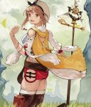 1girl 55level atelier_(series) atelier_ryza bangs belt blush breasts brown_eyes brown_hair clouds cloudy_sky gloves hair_ornament hairclip hat highres holding holding_staff jewelry large_breasts looking_at_viewer necklace open_mouth outdoors parted_bangs red_shorts reisalin_stout short_shorts shorts simple_background single_glove sky smile solo staff standing thigh-highs thighs white_background white_headwear