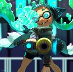 1girl aiming_at_viewer artist_name bangs bike_shorts black_shirt black_shorts blunt_bangs blurry blurry_background cape commentary crazy_eyes crazy_smile depth_of_field domino_mask fangs foreshortening glowing glowing_eyes green_hair grey_cape hanako515_ika head_tilt headgear hero_shot_(splatoon) highres holding holding_weapon hypnosis inkling long_sleeves mask mind_control shirt shorts signature single_vertical_stripe solo sparkle splatoon_(series) splatoon_2 splatoon_2:_octo_expansion squidbeak_splatoon tentacle_hair vest weapon yellow_vest