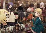 6+girls black_shirt blonde_hair blue_dress blush book boots bottle brown_hair candy chair couch cross-laced_footwear dress eyepatch flower food footwear_removed glasses hair_flower hair_ornament hair_over_one_eye hairband hayasaka_mirei high-waist_skirt highres holding holding_stuffed_animal hoshi_shouko idolmaster idolmaster_cinderella_girls individuals indoors kawaii_boku_to_142's koshimizu_sachiko lace-up_boots lamp library light_brown_hair long_hair long_sleeves looking_at_viewer mannequin medium_hair mirror morikubo_nono multicolored_hair multiple_girls mushroom on_floor open_mouth orange_dress plaid plaid_shirt plaid_skirt pot purple_hair red_dress redhead sakuma_mayu shirasaka_koume shirt shoes short_hair skirt smile sneakers sonsoso stool streaked_hair striped striped_dress stuffed_animal stuffed_toy teddy_bear under_the_desk vertical-striped_dress vertical_stripes white_hair wooden_floor