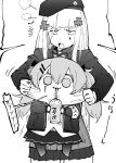 2girls abonnu_(adooonnu) armband bangs beret cheek_pull chibi commentary_request cup disposable_cup drinking drinking_straw facial_mark girls_frontline greyscale hair_between_eyes hat highres hk416_(girls_frontline) holding holding_cup jacket long_hair long_sleeves monochrome multiple_girls open_mouth pleated_skirt scar scar_across_eye skirt ump9_(girls_frontline)