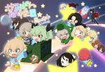 >_< 1girl 6+girls :< :d aki_(girls_und_panzer) alligator_costume anchovy arms_up bandages bangs black_hair black_jacket black_pants black_ribbon blonde_hair blouse blue_blouse blue_dress blue_eyes blue_headwear blush boko_(girls_und_panzer) box braid brown_eyes brown_hair cardboard_box child closed_eyes commentary_request cover cover_page darjeeling doujin_cover dress drill_hair eyebrows_visible_through_hair fang flying formal frown girls_und_panzer glasses green_eyes green_hair grin hair_intakes hair_ribbon hair_tie hanging hat hat_removed headwear_removed itsumi_erika jacket jinguu_(4839ms) katyusha kay_(girls_und_panzer) kindergarten_uniform light_brown_hair long_hair long_sleeves looking_at_another medium_skirt mika_(girls_und_panzer) mikko_(girls_und_panzer) multiple_girls nishi_kinuyo nishizumi_maho nishizumi_miho nonna one_eye_closed one_side_up open_mouth pants reaching_out red_eyes redhead ribbon riding rosehip running sailor_dress shimada_arisu shoes short_hair short_twintails silver_hair sitting skirt sliding smile space_craft star stuffed_animal stuffed_toy suit swept_bangs teddy_bear tied_hair tsuji_renta twin_drills twintails v-shaped_eyebrows wide_sleeves yellow_skirt younger